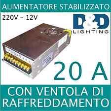 ALIMENTATORE TRASFORMATORE STABILIZZATO SWITCH TRIMMER 220V-12V 20A CON VENTOLA