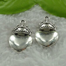 Free Ship 128 pieces tibet silver crown heart charms 28x18mm #1146
