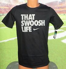 BOY'S SIZE MEDIUM 10-12 THAT SWOOSH LIFE T-SHIRT 878182 010 BLACK / GRAY