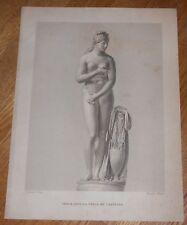 c1850 Antique Print - Nude Classical Sculpture of Venus - fine steel engraving