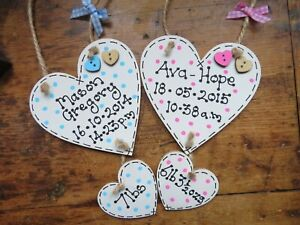 Personalised New Baby Girl Boy Birth Christening Plaque Wooden Heart Sign Gift
