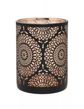 Copper Cut Out Hurricane Tea Light Holder Candle Home Decor Moroccan Black Glass