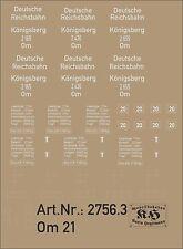 2756.3 Beschriftung für Güterwagen Om21, für Wagen Königsberg 2165, 2436, 2665