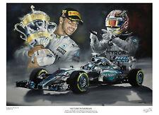 Lewis Hamilton A3 stampa edizione limitata firmata dall'artista Greg Tillett FORMULA 1