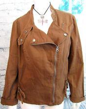 A.N.A. Women's 100% Cotton Brown Light Weight Jacket Asymmetrical Zipper Sz XL