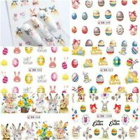 Nail Stickers Water Decals Transfers Easter Bunny Rabbits Chicks Eggs Bows