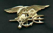 Genuine US Navy SEAL Badge in Gold Trident  US made Genuine Current Issue