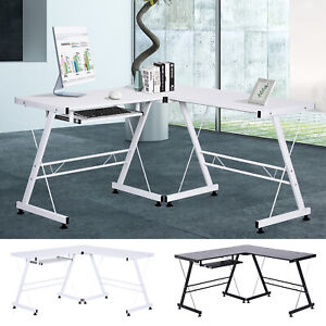 Office Gaming Desk L Shape Straight Corner Table Computer Laminated Sturdy w/