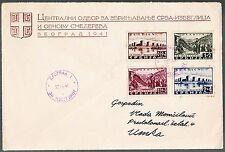 BUSTA CON SERIE COMPLETA Occupazione tedesca Serbia 1941 PRO INONDATI SMEDEREVO