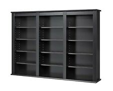 Media Cabinet Wall Mount CD DVD Storage Shelves Entertainment Unit Black NEW