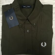 Men's Genuine Fred Perry oxford long sleeved khaki shirt Large