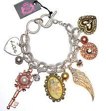 Pearl Crystal Heart Love Angel Wing Key Charm 3 Tri Tone Ring Toggle Bracelet