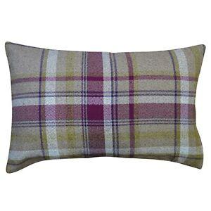 "Tartan Check XL Rectangular Cushion in Purple. Double Sided. 23x15"" (58 x 38cm)."