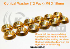 Go Kart Racing,Conical Aluminum Washer 12 Pack (Gold) 6mm X 18mm, Hardware, Euro