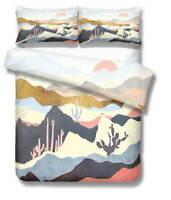 Black Cactus Peak 3D Quilt Duvet Doona Cover Set Single Double Queen King Print