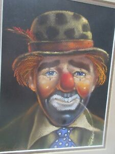 "1987 Framed Country Clown Pastel Painting Signed Caroll Danler???  12"" X 10"""
