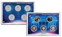 DONALD TRUMP 2017 JFK Kennedy Half Dollar US 5-Coin Set with 4x6 Lens Display