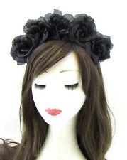 Large Black Sugar Skull Flower Hair Crown Headband Rose Halloween Big Goth 700