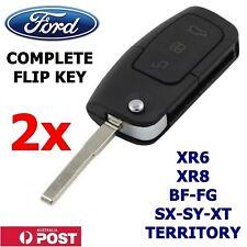 2x FORD 3 Button Transponder Remote Flip Key BF/FG Falcon Territory XR6/XR8