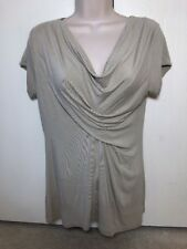 CAbi Womens Top Beige Draped Cowl Neck Blouse Shirt Cap Sleeve Style #311 Sz M