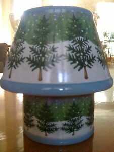Winter Pine Tree and Snow Design Candle Lamp