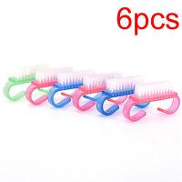 6X Nail Art Cleaning Clean Plastic Handle Brush Pedicure Brosse Manicure Kit·