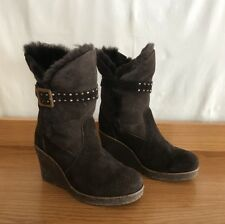 EMU SHEEPSKIN HEEL UGG BOOTS COWGIRL RODEO SEUDE LEATHER HIDE 6.5 8.5 39