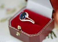 Vintage Jewellery Gold Ring Blue White Sapphires Antique Deco Jewelry R 9