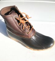 Sperry Saltwater Duck Boots - Tan / Dark Brown - SIZE 9.5