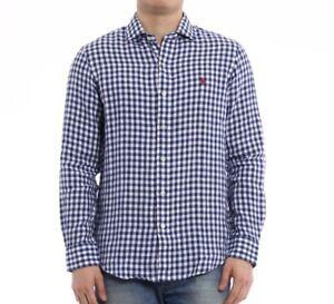 Polo Ralph Lauren Men's Long Sleeve Gingham Linen Estate Shirt - Blue