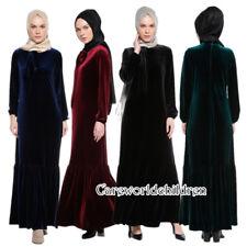 NEW Dubai Velvet Fishtail Dress Women's Muslim Maxi Abaya Kaftan Jilbab Clothes