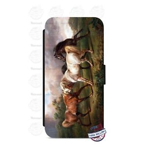 Horse Artwork Wallet Flip Phone Case Cover For iPhone Samsung etc