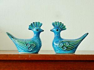 A pair of birds by Aldo Londi for Bitossi Rimini Blue Italy Mid Century Modern