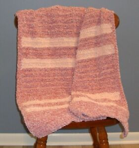 Dusty Pink & Blush Pink Chenille Baby Afghan / Blanket -Beautiful Colors! - NEW!