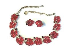 Vintage Signed Lisner Red Jelly Lucite Thermoset Leaf Choker Necklace Earrings