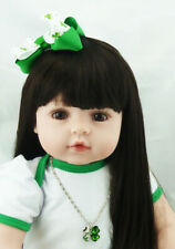 Real Life Dolls 24inch Long Hair Toddler Girls Reborn Baby Dolls with Tutu Skirt