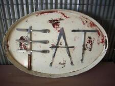 """""""EAT"""" Sign - Large Oval Metal Rustic Primitive Cafe Dining Wall Art Decor - 28"""""""