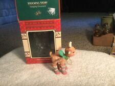Cute ENESCO CHRISTMAS ORNAMENT 1988 STOCKING STORY REINDEER W/LEG WARMERS