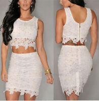 Sexy Women Casual Sleeveless Evening Party Cocktail Mini Lace Dress White #006