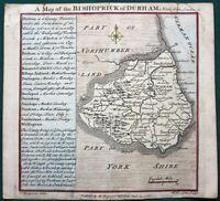 """Bishoprick of Durham"" County England orig 1742 Map"