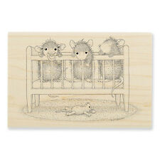 HOUSE MOUSE RUBBER STAMPS CRIB TIME NEW wood STAMP