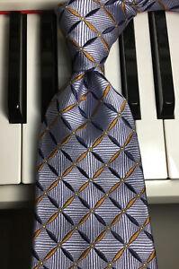 ROBERT TALBOTT / Splendid Silver-Blue Squares w/Brown & Navy Checks Silk Necktie