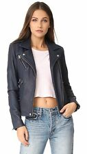 IRO Han Moto Biker Leather Jacket - Navy Blue FR 34 or US 0 / 2 XS