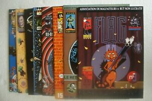 """COLLECTION COMPLETE REVUE BD UNDERGROUND """"FLAG"""" N° 1 A 9 - P. OUIN/SHELTON 1992"""