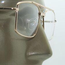 Bifocal Reading Glasses Square Aviator 80's Style Gold Metal Frame +2.00 Lens