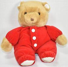 Vintage EDEN LIGHT BROWN TEDDY BEAR IN RED PAJAMAS Stuffed Animal PLUSH SOFT TOY