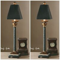 "PAIR 31"" CHIC DECO TWISTED ROPE STYLE BELLCORD BUFFET TABLE LAMP UTTERMOST"