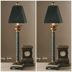 """PAIR 31"""" TWISTED ROPE STYLE BELLCORD BUFFET TABLE LAMP UTTERMOST"""