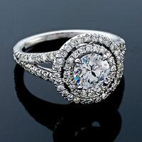 2.16 CT ROUND CUT DIAMOND HALO ENGAGEMENT RING 14K WHITE GOLD ENHANCED