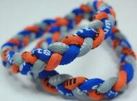"SALE! 20"" 3 Rope Twist Titanium Sport Necklace Gray Blue Orange Tornado Baseball"